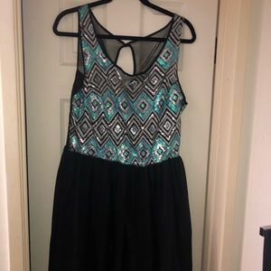 Black dress with Silver &Light blue sequins